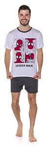 Pijama Adulto Homem Aranha Branco e Cinza - Coleção Pai e Filho