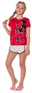 Pijama Juvenil Mickey Branco e Vermelho - Coleção Mãe e Filha
