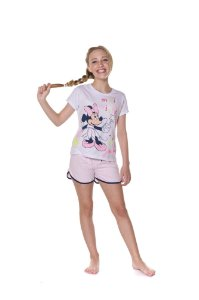 Pijama Short Doll Juvenil Minnie Disney - Branco e Rosa