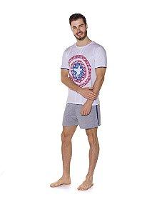 Pijama Adulto Capitão América Marvel - Branco e Cinza