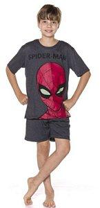 Pijama Juvenil Menino Homem Aranha Brilha no Escuro Cinza - Coleção Pai e Filho