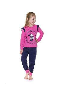 Pijama Minnie Disney - Rosa e Azul Marinho