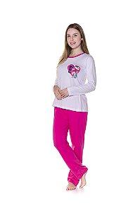 Pijama Adulto Mônica - Rosa e Branco