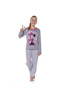 Pijama Juvenil Minnie Disney - Cinza e Branco