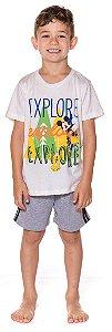Pijama Infantil Menino Mickey Disney - Branco e Cinza