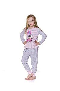Pijama Infantil Mônica - Cinza e Rosa