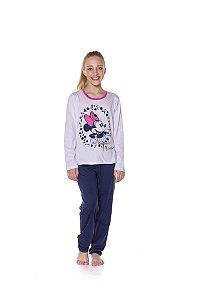 Pijama Juvenil Minnie Disney - Branco e Azul Marinho