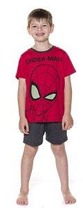 Pijama Infantil Menino Homem Aranha Brilha no Escuro Vermelho - Coleção Pai e Filho