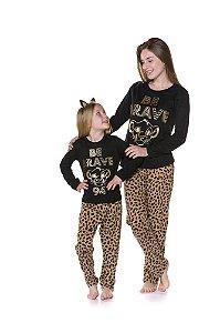 Pijama Rei Leão Disney - Coleção Mãe e Filha - Tigrado Marrom e Preto