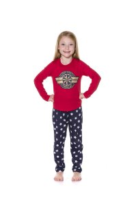 Pijama da Capitã Marvel - Vermelho e Azul Marinho - Infantil
