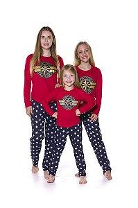 Pijama da Capitã Marvel  - Coleção Mãe e Filha - Vermelho e Azul Marinho