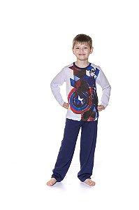 Pijama Infantil Capitão América Marvel I - Branco e Azul Marinho