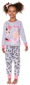 Pijama Flanelado Infantil Minnie Cinza - Coleção Mãe e Filha