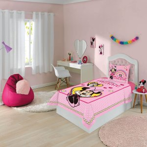 Jogo de Cama - Minnie -2 Peças - Disney - Rosa - Lepper