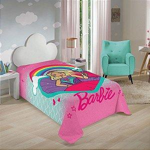 Manta Colcha da Barbie - Arco Íris - Rosa - Lepper