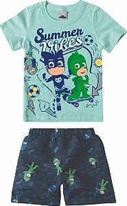 Conjunto de Camiseta e Bermuda - Pj Masks -Azul - Malwee