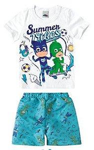 Conjunto Infantil de Camiseta e Bermuda - Pj Masks - Branco - Malwee