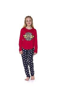 Pijama Juvenil Capitã Marvel  Azul Marinho e Vermelho