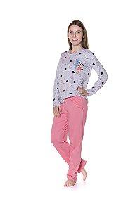 Pijama Adulto Mônica e Sansão - Rosa e Cinza