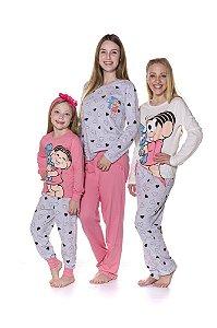 Pijama da Mônica e Sansão  - Coleção Mãe e Filha - Rosa e Cinza
