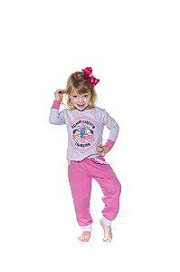 Pijama Infantil Moletinho Mônica e Magali - Rosa e Cinza