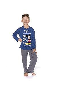 Pijama do Mickey - Disney Infantil - Azul e Cinza