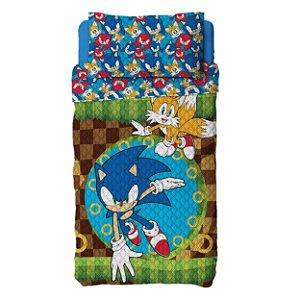 Colcha do Sonic - Dupla Face - Azul - Lepper
