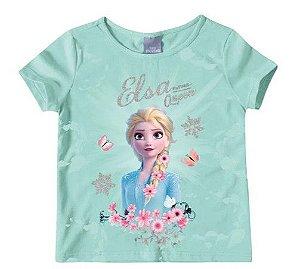 Blusa Infantil Frozen Azul com Flores - Malwee