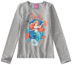 Blusa Princesa Ariel Disney  - Cinza - Malwee