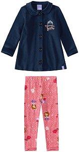 Conjunto de Jaqueta e Legging da Princesa Sofia - Rosa e Azul Marinho - Malwee