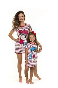 Camisola Mônica e Sansão - Coleção Mãe e Filha - Vermelha e Branca