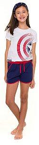 Pijama Juvenil Feminino Capitão América Branco e Azul Marinho - Coleção Família