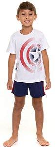 Pijama Infantil Menino Capitão América Branco e Azul Marinho - Coleção Família
