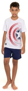 Pijama Juvenil Menino Capitão América Branco e Azul Marinho - Coleção Família