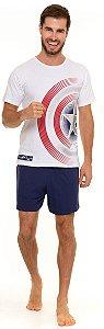 Pijama Adulto Masculino Capitão América Branco e Azul - Coleção Família
