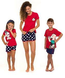 Pijama Turma da Mônica - Coleção Mãe e Filhos - Vermelho e Azul Marinho