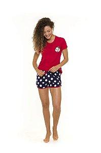 Pijama Short Doll Adulto Mônica - Vermelho e Azul