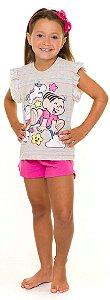 Pijama Infantil Mônica e Unicórnio Rosa - Coleção Mãe e Filha