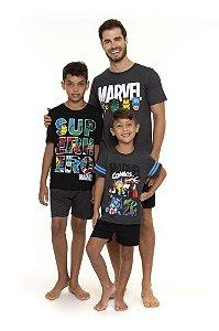 Pijama Avengers Marvel - Coleção Pai e Filho - Cinza e Preto