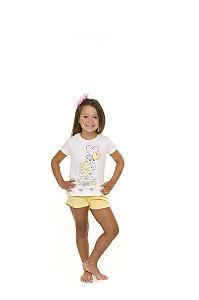 Pijama Short Doll Bichinhos - Branco e Amarelo - Infantil