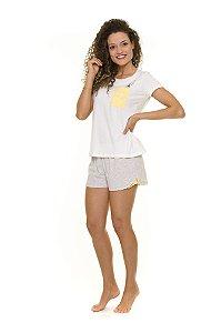 Pijama Short dos Bichinhos - Branco e Cinza  - Adulto