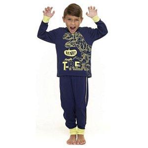 Pijama Dinossauro Rex - Azul Marinho