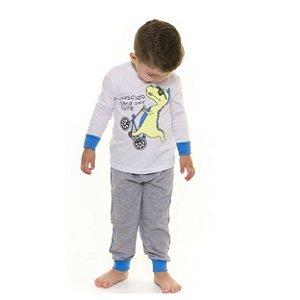 Pijama Infantil Dinossauro - Primeiros Passos - Branco e Cinza