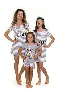 Camisola e Short Doll Mickey Friends - Branco e Cinza - Coleção Mãe e Filha