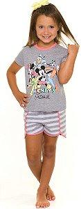 Pijama Infantil Mickey e Amigos Cinza - Coleção Mãe e Filha
