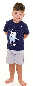 Pijama Infantil Astronauta Azul e Cinza