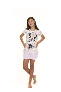 Pijama Short Doll Minnie - Branco e Rosa Claro - Disney - Juvenil
