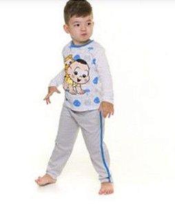 Pijama Infantil Cascão- Turma da Mônica - Azul e Cinza