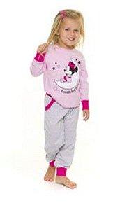 Pijama Infantil Minnie Disney - Rosa e Cinza - Primeiros Passos