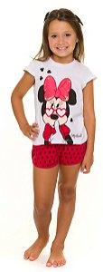 Pijama Infantil Minnie Branco e Vermelho